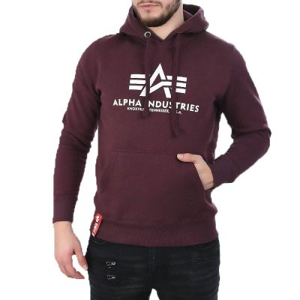 Alpha Industries pánská mikina Basic Hoody (tm. vínová) - Etappa