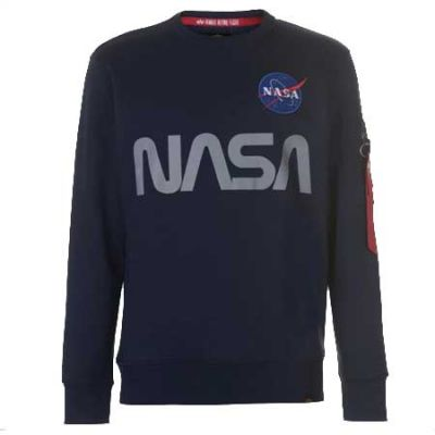 Alpha Industries mikina NASA Reflective Sweater (Rep. Blue)