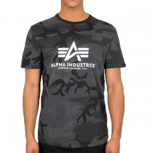 Alpha Industries triko Basic černé maskáčové