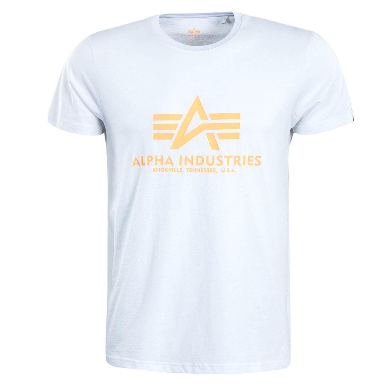 Alpha Industries pánské triko Basic T White/neon orange - Etappa