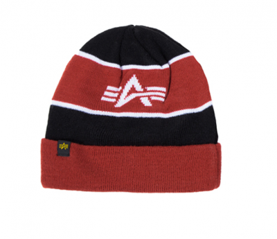 Alpha Industries Block Beanie (black/red)