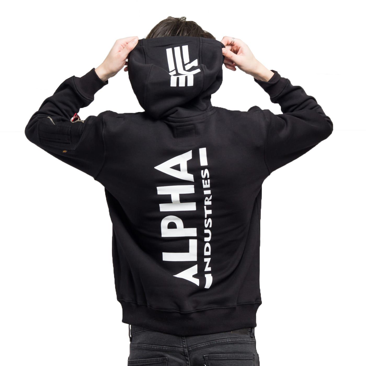Alpha Industries mikina Back Print Hoody černá - Etappa