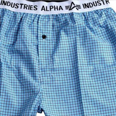 Alpha Industries trenky Bodywear Boxer Checked Blue - Etappa