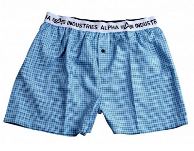 Alpha Industries Bodywear Boxer Checked modré