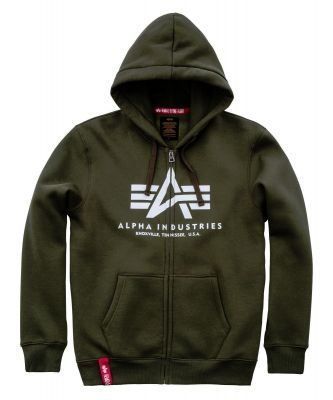 Alpha Industries mikina | Basic Hoody na zip tm. zelená (dark green)