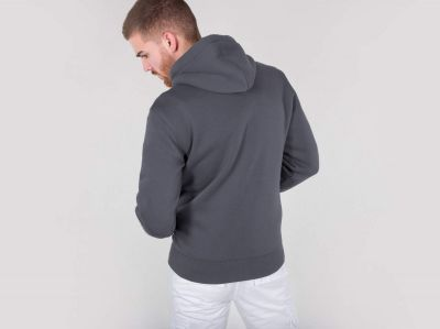 Alpha Industries mikina | Basic Hoody na zip tm.šedá (greyblack)