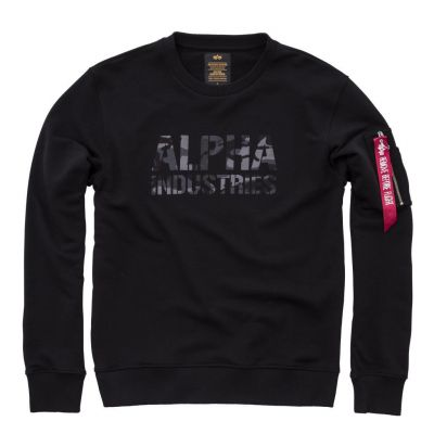 Alpha Industries mikina Camo Print Sweat (black/black)