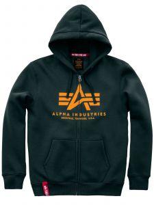 Alpha Industries pánská mikina Basic Hoody zip zelená (dark petrol)