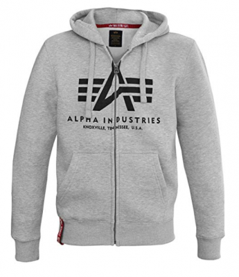 Alpha Industries mikina | Basic Hoody na zip šedá (grey heather)