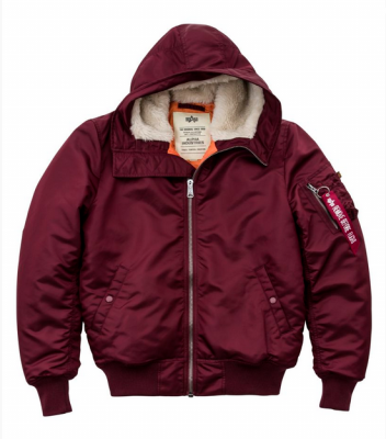 Bunda Alpha Industries MA1 Hooded Burgundy