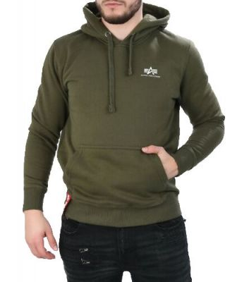 Alpha Industries Basic Hoody Small Logo tm. zelená - Etappa
