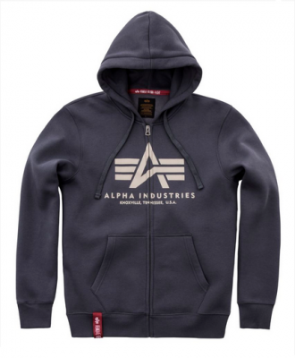 Alpha Industries mikina | Basic Hoody na zip (greyblack)