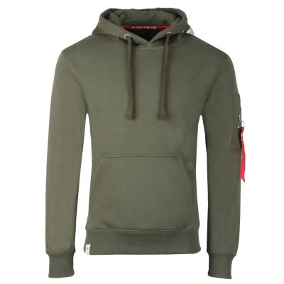 Alpha Industries Printed Tape Hoody (dark olive)