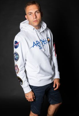 Alpha Industries mikina Apollo 50 Patch Hoody bílá