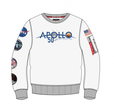 Alpha Industries mikina Apollo 50 Patch Sweater bílá