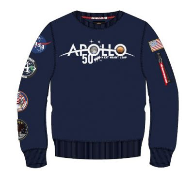 Alpha Industries mikina Apollo 50 Patch Sweater modrá