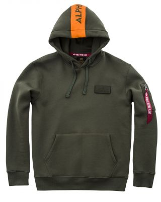 Alpha Industries Red Stripe Hoody (dark green)